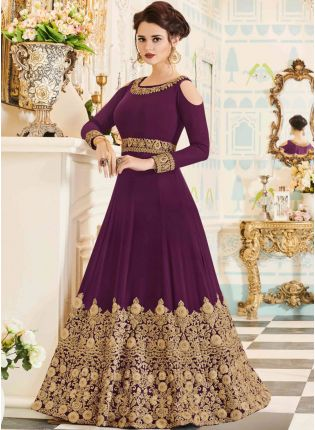 Latest Purple Color Designer Heavy Embroidered Gown