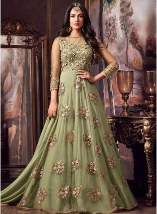 dusty green color designer heavy embroidered work anarkali suit