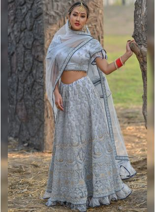 Wonderful Light Steel Blue Soft Net Base Designer Lehenga Choli
