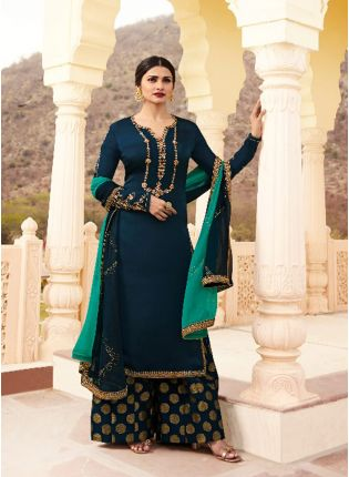 Navy Blue Color Crepe Silk Base Party Wear Sharara Suit