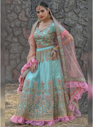 Mesmerizing Sky Blue Soft Net Base Embroidered Designer Lehenga Choli