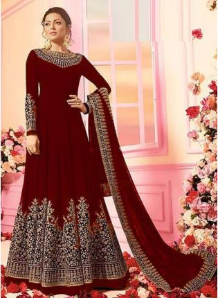 Dark Maroon Color Georgette Base Designer Wedding Wear Anarkali Suit