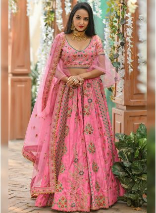 Gorgeous Baby Pink Silk Base Designer Embroidered Lehenga Choli