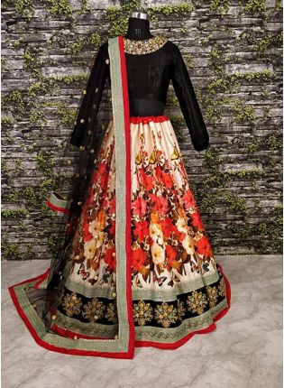 Anushka Sharma In Floral Motif Lehenga With Black Choli