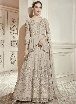 Beige Zari Work And Soft Net Anarkali Salwar Suit