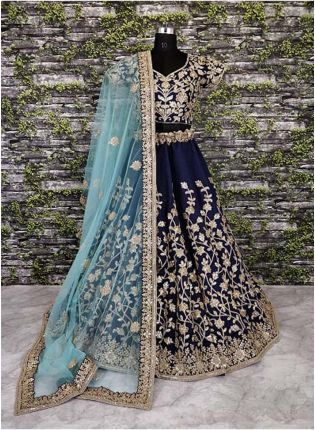 Navy Blue Banglori Silk Lehenga Choli With Applique Embroidery Work