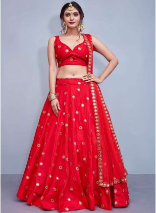 Delicate Red Heavily Embellished Mirror Work Designer Lehenga Choli