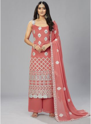 Delightful Peach Colored Georgette Festive Wear Trendy Palazzo Suit