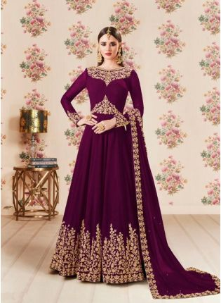 Wine Color Party Wear Georgette Base Heavy Embroidery Work Anarkali Suit