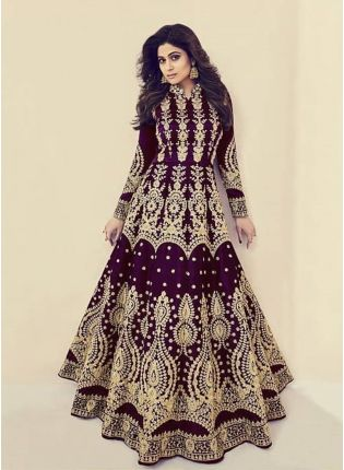 Wine Color Silk Base Wedding Wear Heavy Embroidery Work Gown