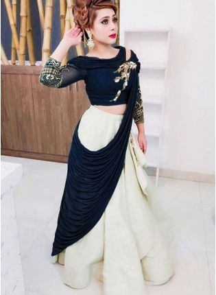Navy Blue Color Heavy Look Designer Lehenga Choli