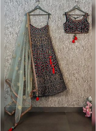 Black Color Taffeta Silk Embroiderer Designer Lehenga Choli