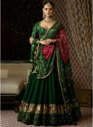 Stylish Banglory Silk Dark Green Embroidery Lehenga Choli