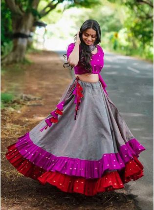 Grey And Pink Color Designer Ruffle Lehenga Choli
