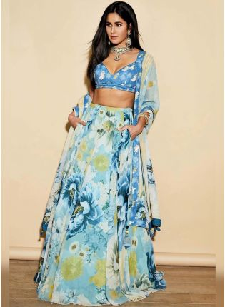 Bottle Green Color Floral Printed Designer Lehenga Choli