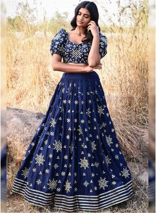 Navy Blue Tafetta Silk and Zari Lehenga Choli