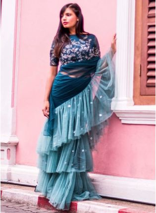 Latest Designer Rama Green And Blue Color Ruffle Style Saree