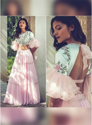 Pink Color Heavy Embroidery And Sequins Work Ruffle Lehenga Choli
