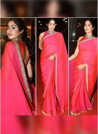 Pink Color Party Wear Designer Georgette Base Party Wear Saree