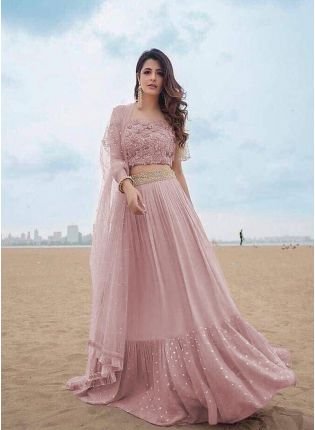 Sand Pink Color Party Wear Georgette Base Ruffle Lehenga Choli