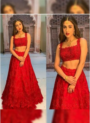 Red Sequin Festive Organza Panelled Lehenga Choli