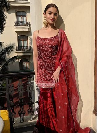 Dark Maroon Color Velvet Base Embroidery Work Sharara Suit