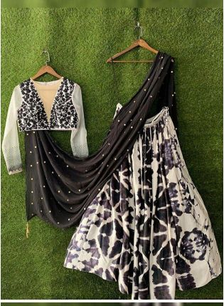 Black And White Color Party Wear Designer Shibori Printed Lehenga Choli