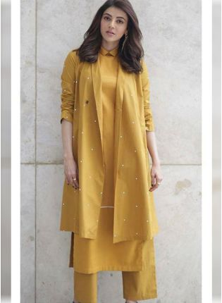 Mustard Yellow Color Party Wear Cotton Silk Base Pant Style Suit