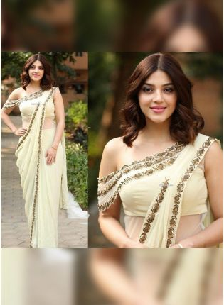 Delightful White Georgette Base Sequin And Zari Work Saree