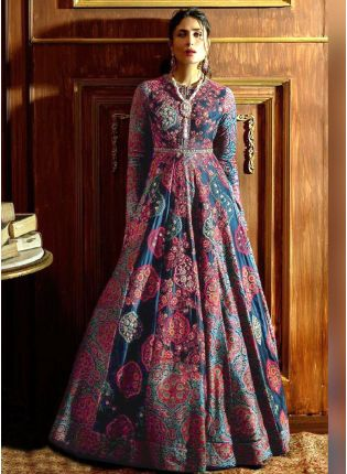 Impression Blue Silk Base Digital Printed Reception Wear Designer Gown
