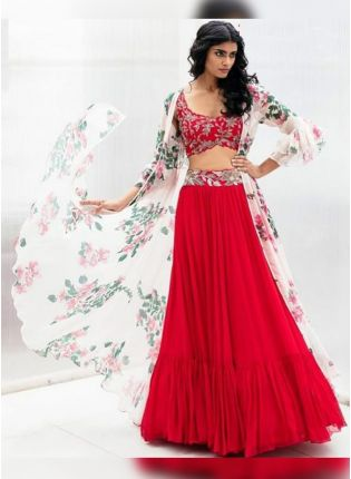 Pink Digital Print Zari And Georgette Lehenga Choli Jacket Style