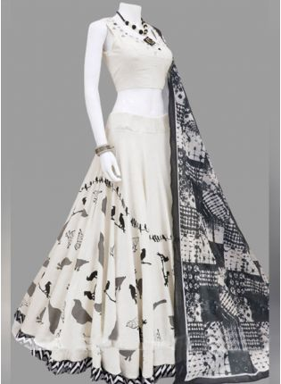 Wonderful White Silk Base Digital Printed Designer Lehenga Choli