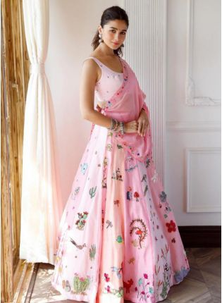 Charming Pink Digital Printed Flared Lehenga Choli Set