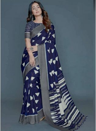 Electric Blue Festive Saree With Heavy Printed Work
