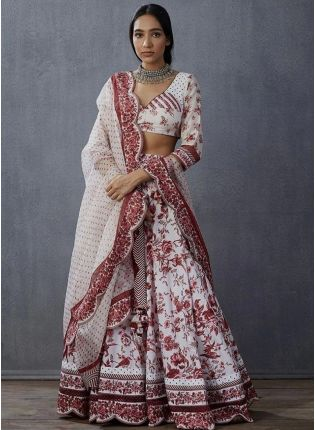 Angelic White Digital Print Silk Flared Lehenga Choli Set