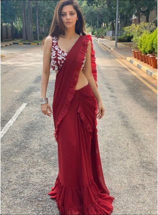 Ruby Red Festive Bollywood Saree With Resham Details