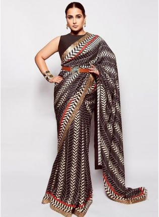 Abstract Black Printed Saree With Sequins Details