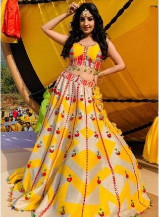 Sunny Yellow Color Digital Print Flared Lehenga Choli