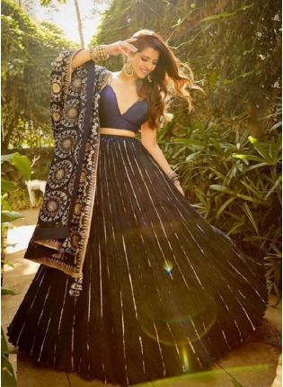 Eye-captivating Navy Blue Color Heavy Embroidery Bollywood Lehenga Choli