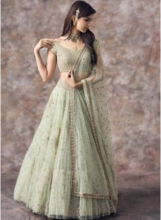 Olive Green Color Party Wear Net Base Designer Lehenga Choli