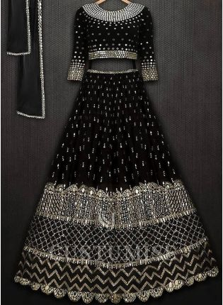 Black Color Designer Party Wear Georgette Base Lehenga Choli
