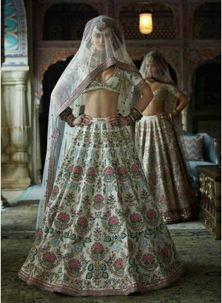 White Color Wedding Wear Designer Silk Base Embroidered Lehenga Choli