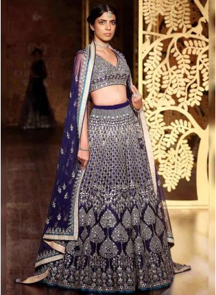 Navy Blue Color Wedding Wear Designer Embroidery Work Lehenga Choli