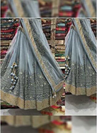 Grey Color Wedding Wear Designer Net Base Lehenga Choli