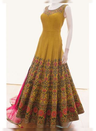 Mustared Yellow Color Wedding Wear Multi Embroidery Work Gown