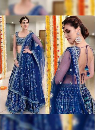 Blue Color Wedding Wear Heavy Thred Work Desiger Lehenga Choli