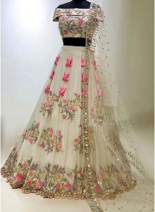 White Color Party Wear Designer Wedding Wear Lehenga Choli