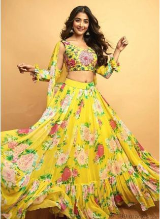 Yellow Digital Print Ruffle Jacket Lehenga Choli