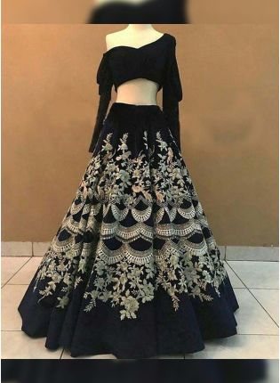 Black Zari Sequin Satin Flared Lehenga Choli