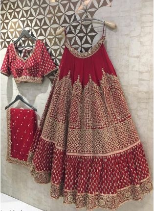 Red Zari Resham Georgette Flared Bridal Lehenga Choli